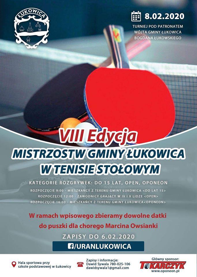 Plakat turnieju VIII edycja Mistrzostw Gminy Łukowica