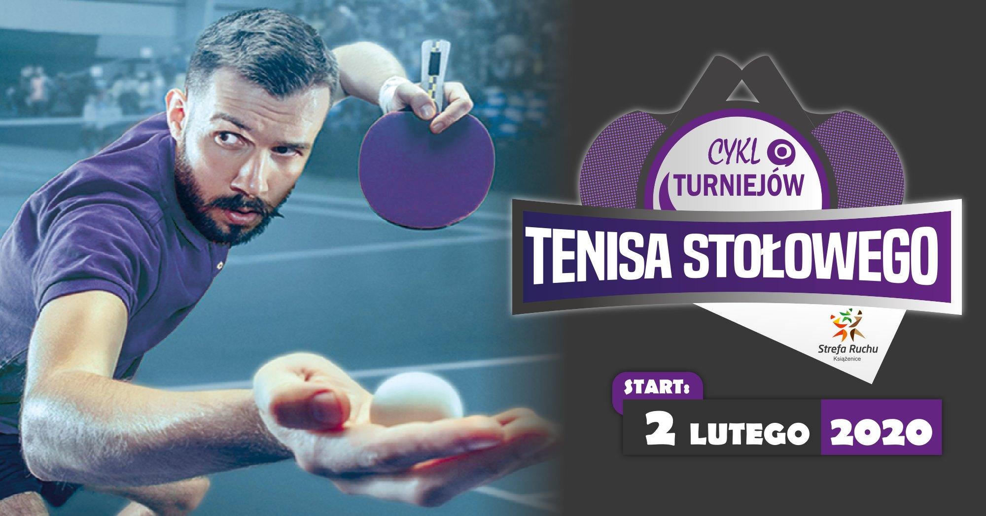 """Plakat turnieju Cykl Turniejów Tenisa Stołowego """"Książenice""""- 3 turniej"""
