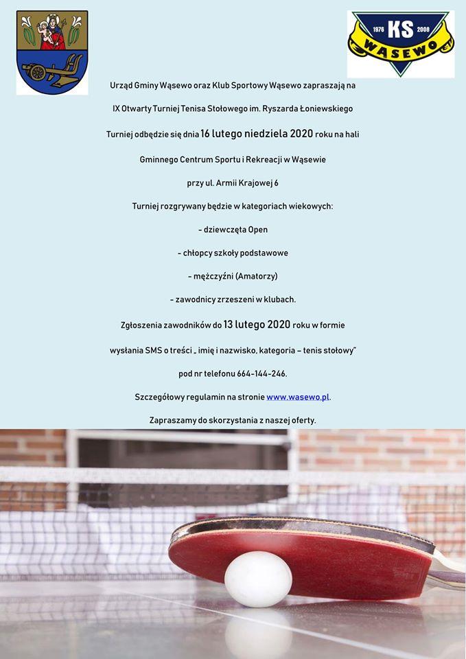 Plakat turnieju IX Otwarty Turniej Tenisa Stołowego im. Ryszarda Łoniewskiego