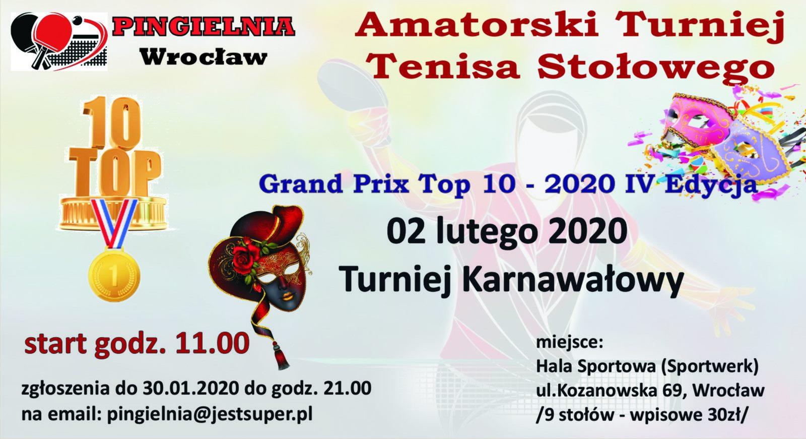 Plakat turnieju Amatorski Turniej Tenisa Stołowego (Pingielnia)