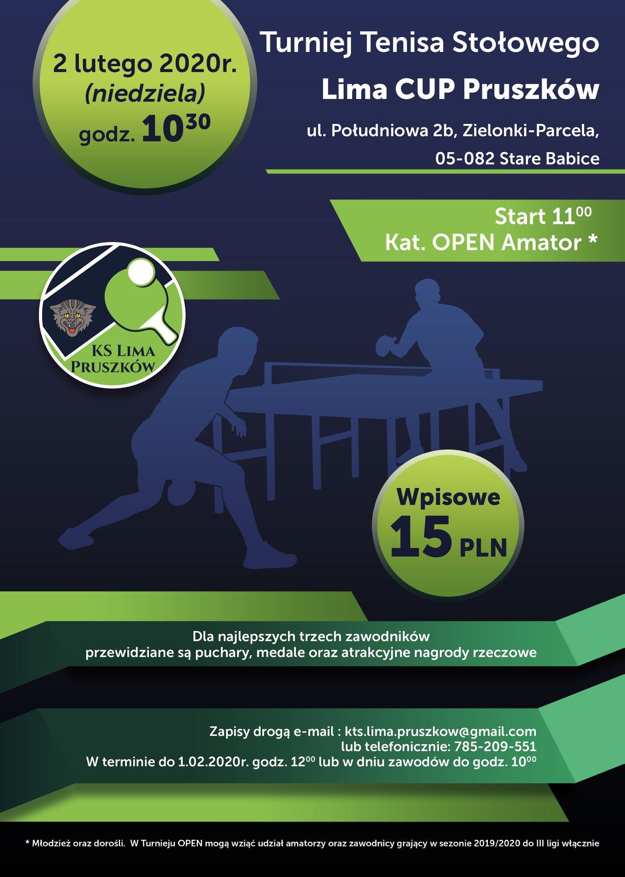 Plakat turnieju Turniej Tenisa Stołowego Lima Cup Pruszków