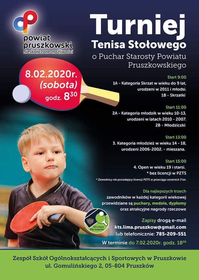 Plakat turnieju Turniej Tenisa Stołowego o Puchar Starosty Powiatu Pruszkowskiego