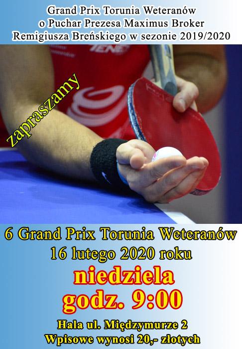 Plakat turnieju 6 Grand Prix Torunia Weteranów o Puchar Prezesa Maximus Broker w sezonie 2019/2020