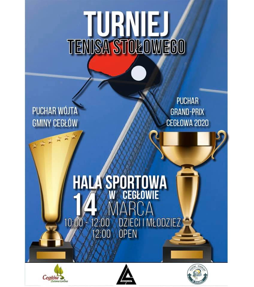 Plakat turnieju Wielki podwójny turniej w Cegłowie- PUCHAR WÓJTA i PUCHAR GP CEGŁOWA 2020