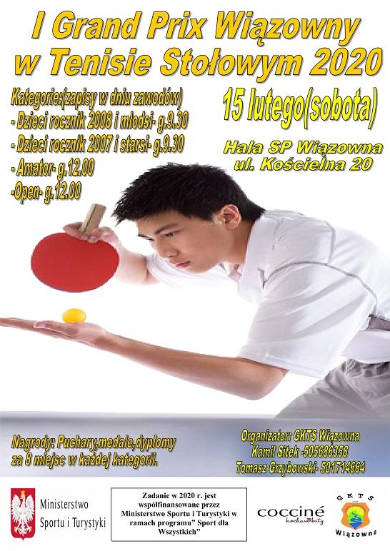 Plakat turnieju 1 Grand Prix Wiązowny w Tenisie Stołowym 2020