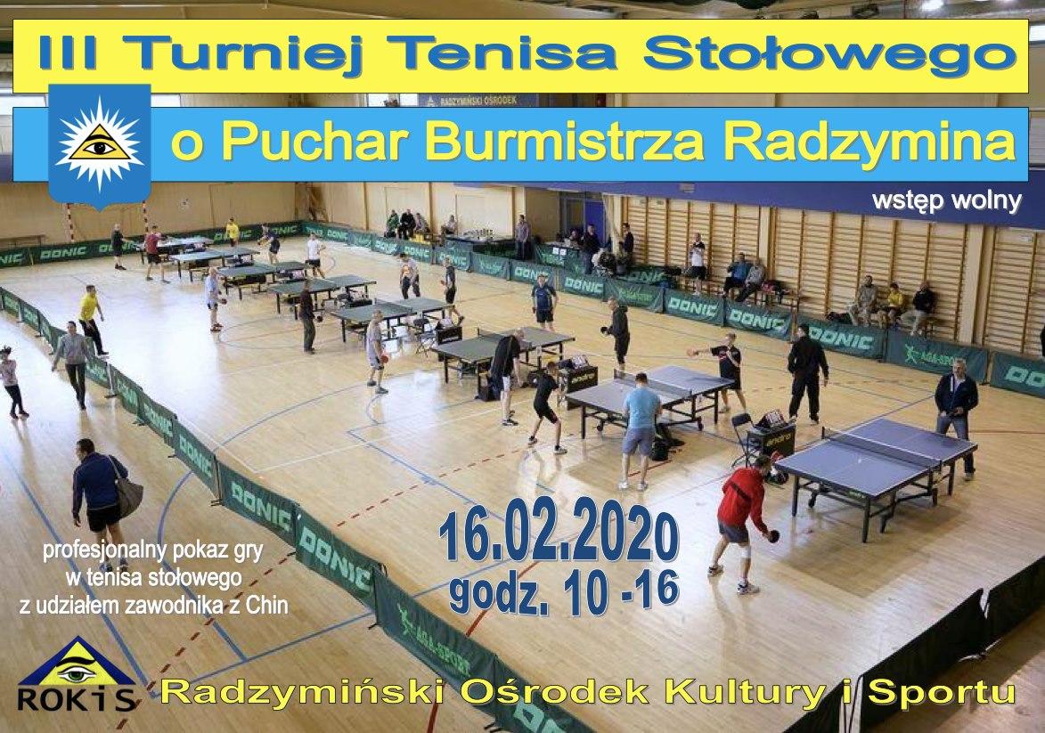 Plakat turnieju III Otwarty Turniej Tenisa Stołowego w Radzyminie