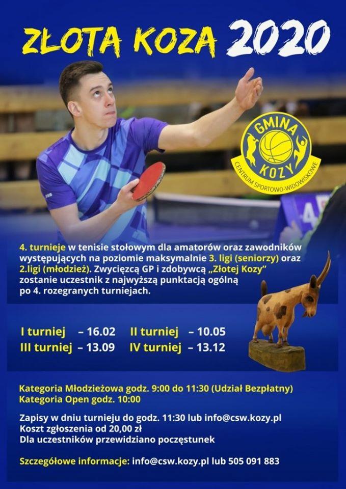 """Plakat turnieju Grand Prix Kóz w Tenisie Stołowym """"Złota Koza 2020""""- I turniej"""
