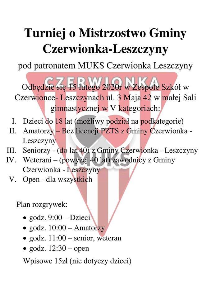 Plakat turnieju Turniej o Mistrzostwo Gminy Czerwionka – Leszczyny