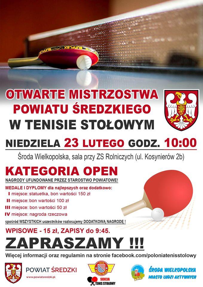 Plakat turnieju Mistrzostwa Powiatu Średzkiego w Tenisie Stołowym 2020