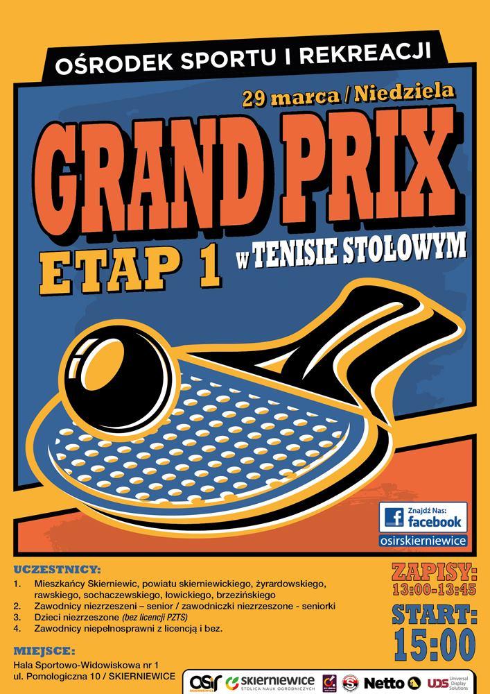 Plakat turnieju GRAND PRIX W TENISIE STOŁOWYM 2020 - etap 1
