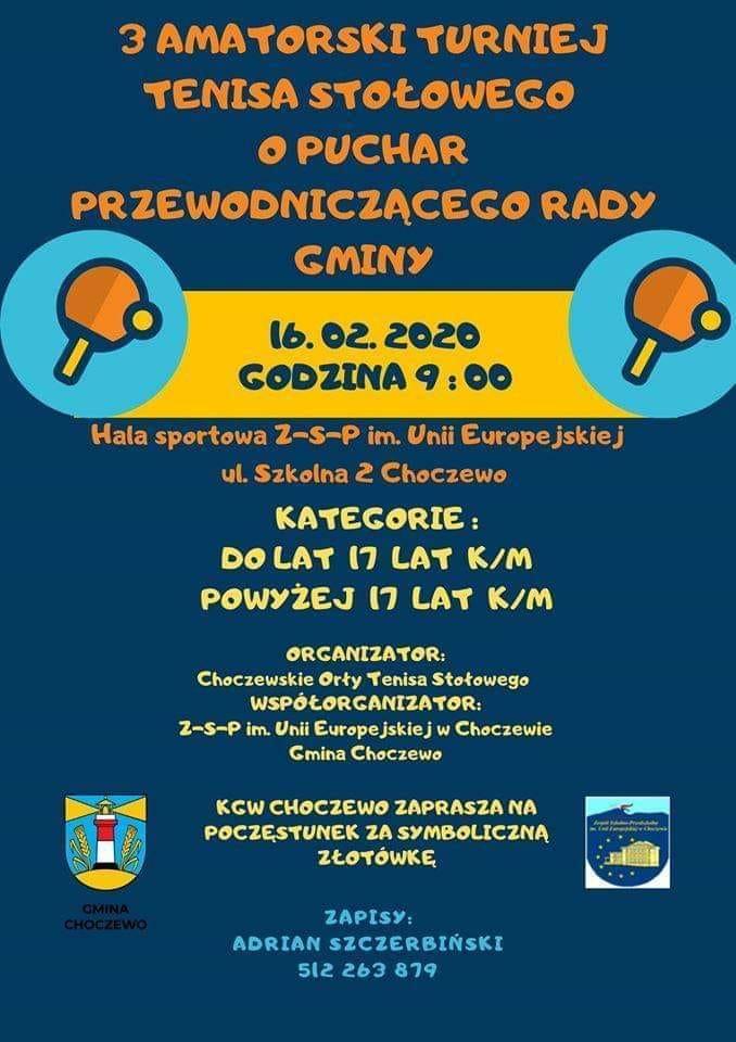 Plakat turnieju 3 Amatorski Turniej o Puchar Przewodniczącego Rady Gminy Choczewo