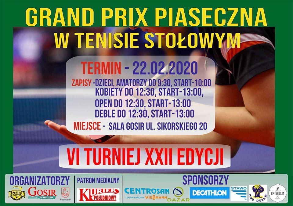 Plakat turnieju Grand Prix Piaseczna w tenisie stołowym 2019/2020 - VI Turniej