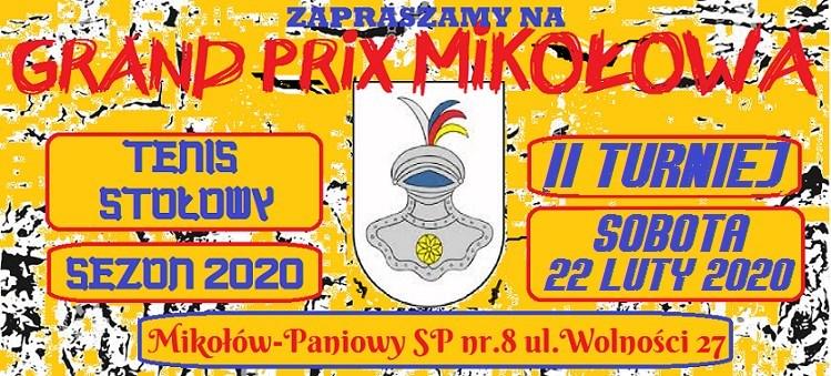 Plakat turnieju XVI edycja Grand Prix Mikołowa w tenisie stołowym- II turniej