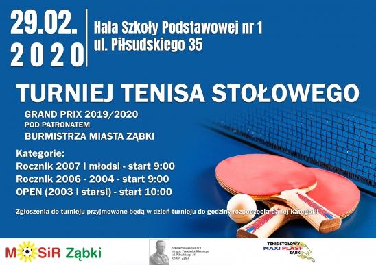 Plakat turnieju V Grand Prix 2019/2020 w tenisie stołowym pod patronatem Burmistrza Miasta Ząbki