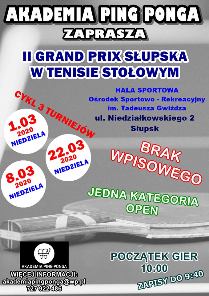 Plakat turnieju II Grand Prix Słupska- 22.03.2020