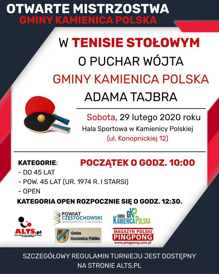 Plakat turnieju Otwarte Mistrzostwa Gminy Kamienica Polska