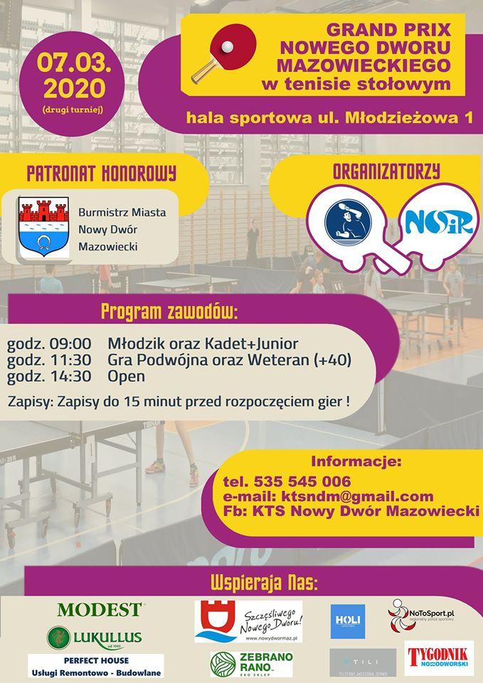 Plakat turnieju Grand Prix Nowego Dworu Mazowieckiego - II turniej