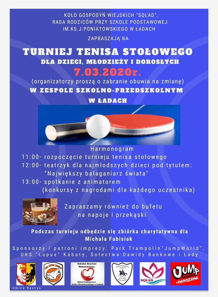 Plakat turnieju Turniej tenisa stołowego dla dzieci, młodzieży i dorosłych