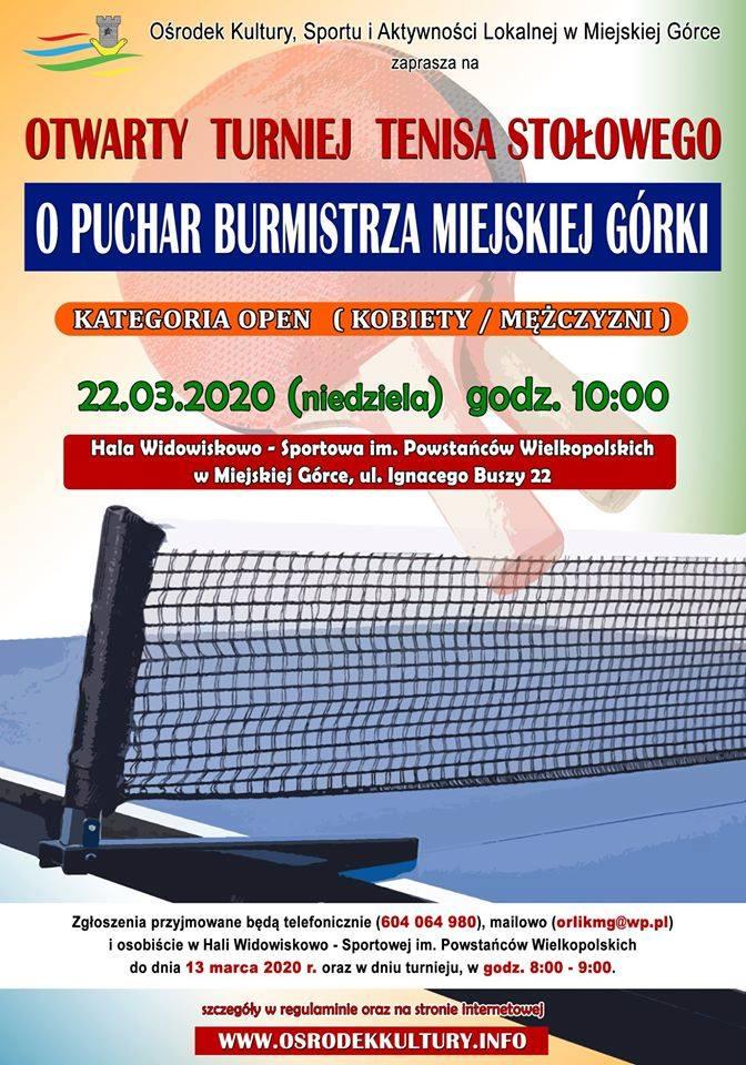 Plakat turnieju TURNIEJ O PUCHAR BURMISTRZA Miejskiej Górki