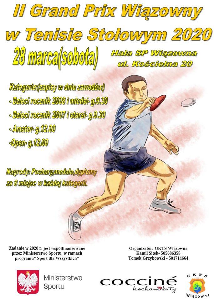 Plakat turnieju II Grand Prix Wiązowny w Tenisie Stołowym 2020