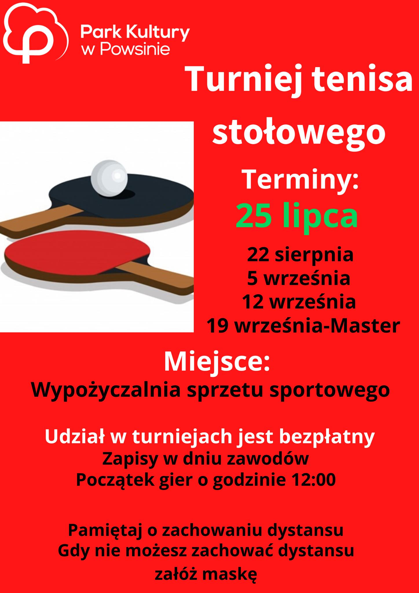 Plakat turnieju Cykl turniejów w tenisie stołowym w Parku Kultury w Powsinie 2020 - 1 termin