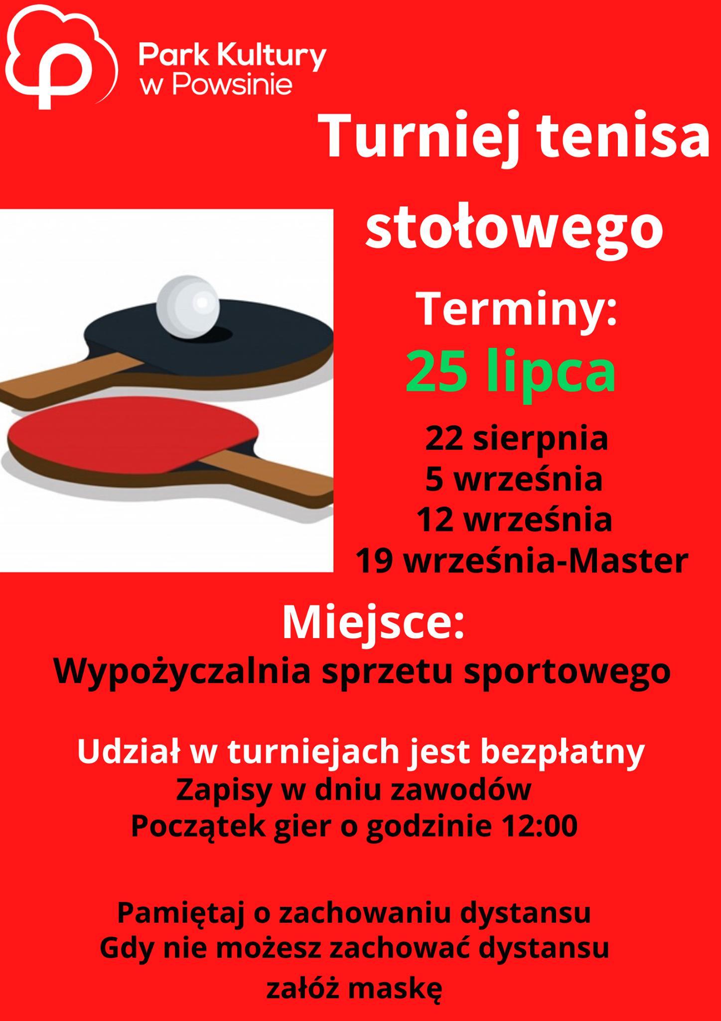Plakat turnieju Cykl turniejów w tenisie stołowym w Parku Kultury w Powsinie 2020 - 2 termin
