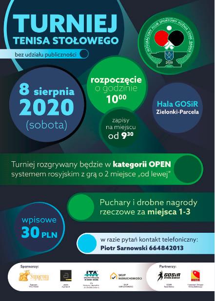 Plakat turnieju Turniej Tenisa Stołowego 2020 Kuźnia Stare Babice