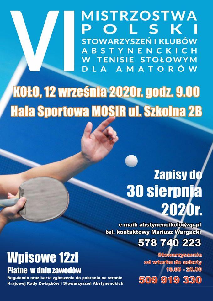 Plakat turnieju VI Mistrzostwa Polski stowarzyszeń i klubów abstynenckich w tenisie stołowym dla amatorów