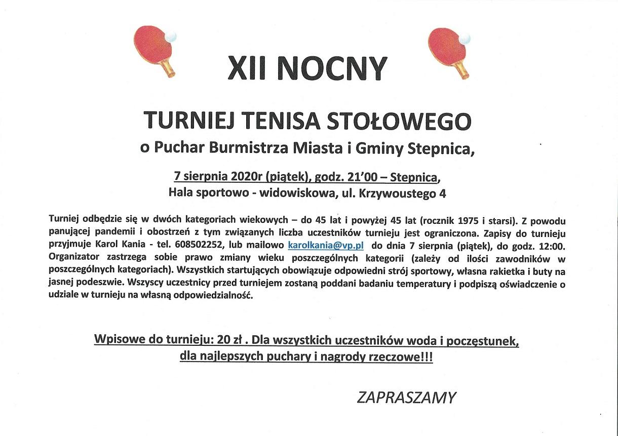 Plakat turnieju XII Nocny Turniej Tenisa Stołowego o Puchar Burmistrza Miasta i Gminy Stepnica