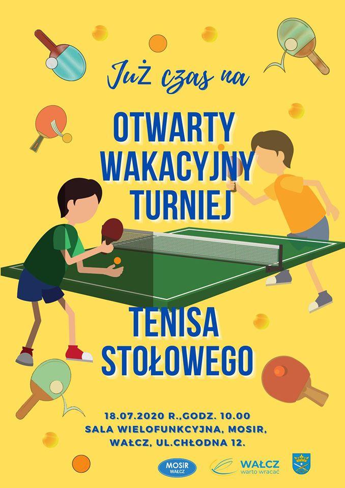 Plakat turnieju Otwarty wakacyjny turniej tenisa stołowego