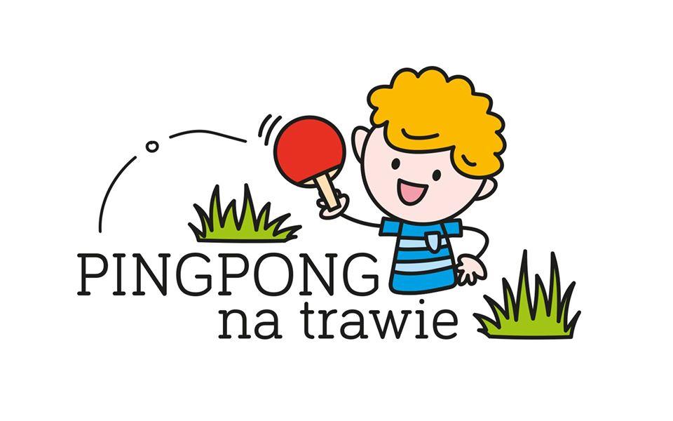 "Plakat turnieju Piknik  ""Pingpong na Trawie""na Żoliborzu"