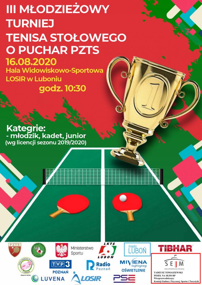 Plakat turnieju III młodzieżowy turniej tenisa stołowego o puchar  PZTS