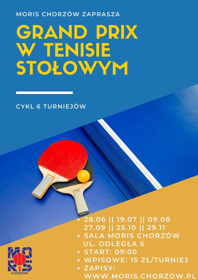 Plakat turnieju grand prix w tenisie stołowym - 3 runda