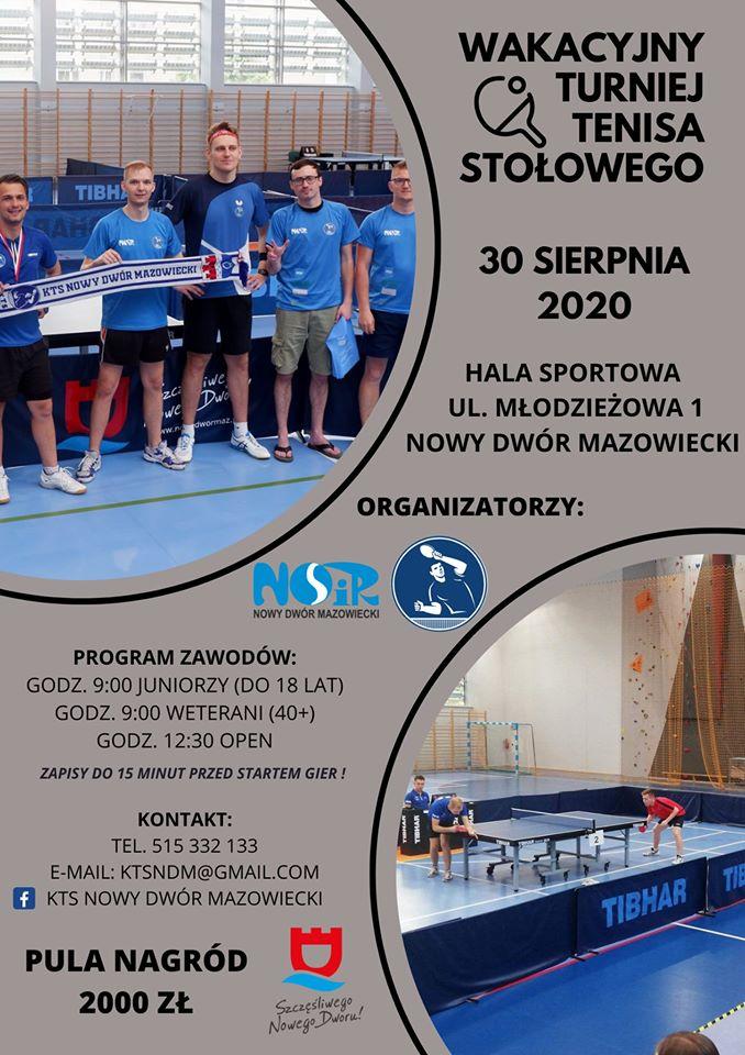 Plakat turnieju Wakacyjny turniej tenisa stołowego