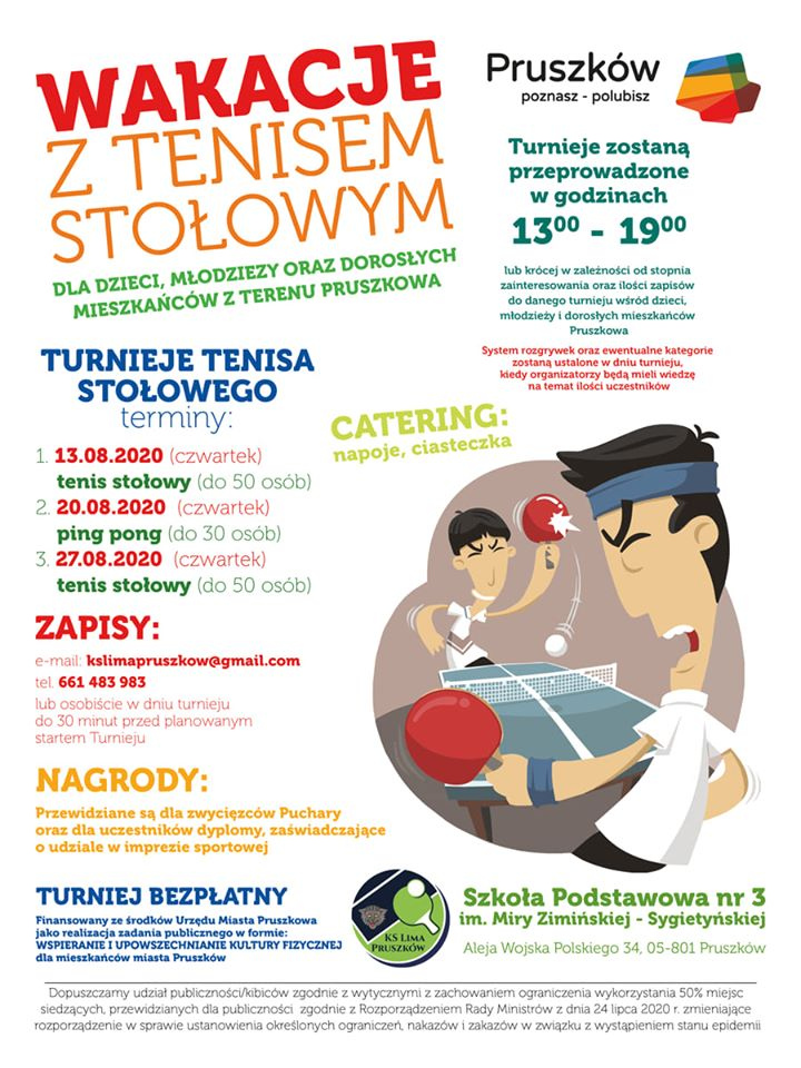 Plakat turnieju Wakacje z tenisem stołowym 2020