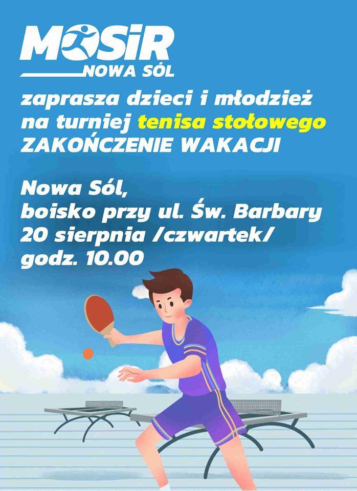 Plakat turnieju Turniej tenisa stołowego na świeżym powietrzu