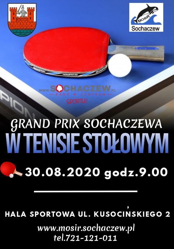 Plakat turnieju VII Grand Prix Sochaczewa w Tenisie Stołowym 2019/2020