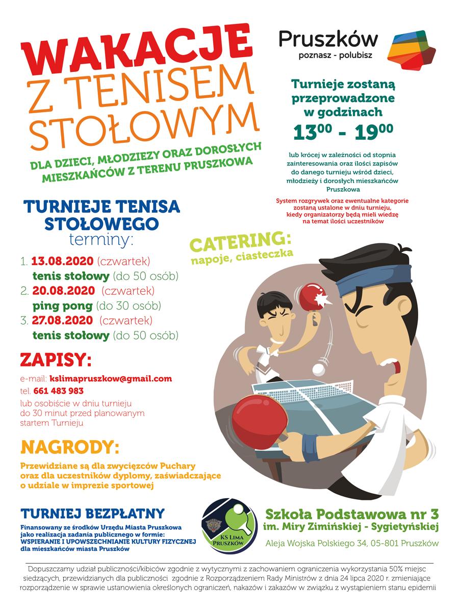 Plakat turnieju Wakacje z tenisem stołowym Pruszków 2020 - ping pong