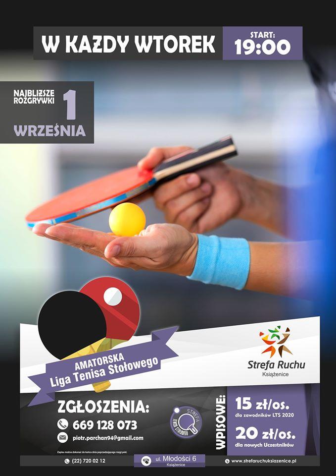 Plakat turnieju Liga Tenisa Stołowego w Książenicach 2020 - 2 turniej