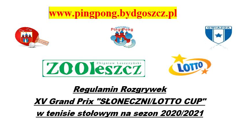 Plakat turnieju Grand Prix Słoneczni/LOTTO CUP w Tenisie Stołowym - Turniej 2