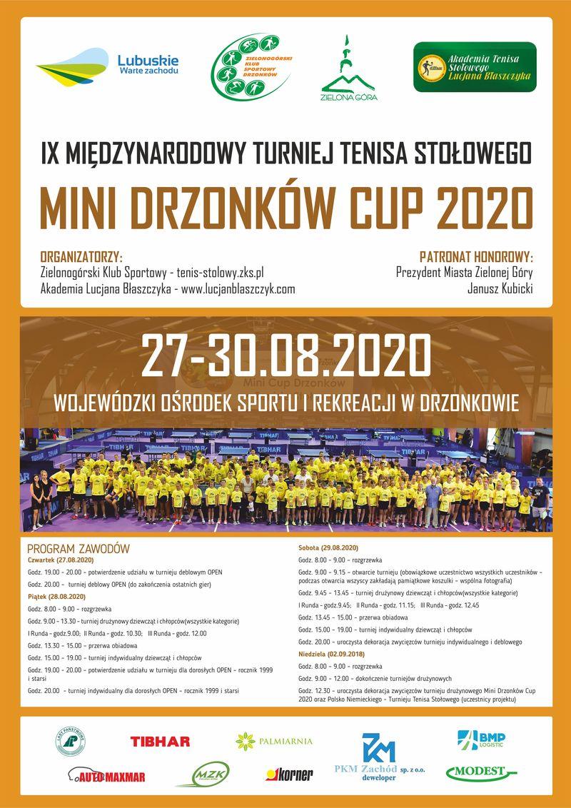 Plakat turnieju IX Międzynarodowy turniej tenisa stołowego -MINI DRZONKÓW CUP 2020  w tenisie stołowym