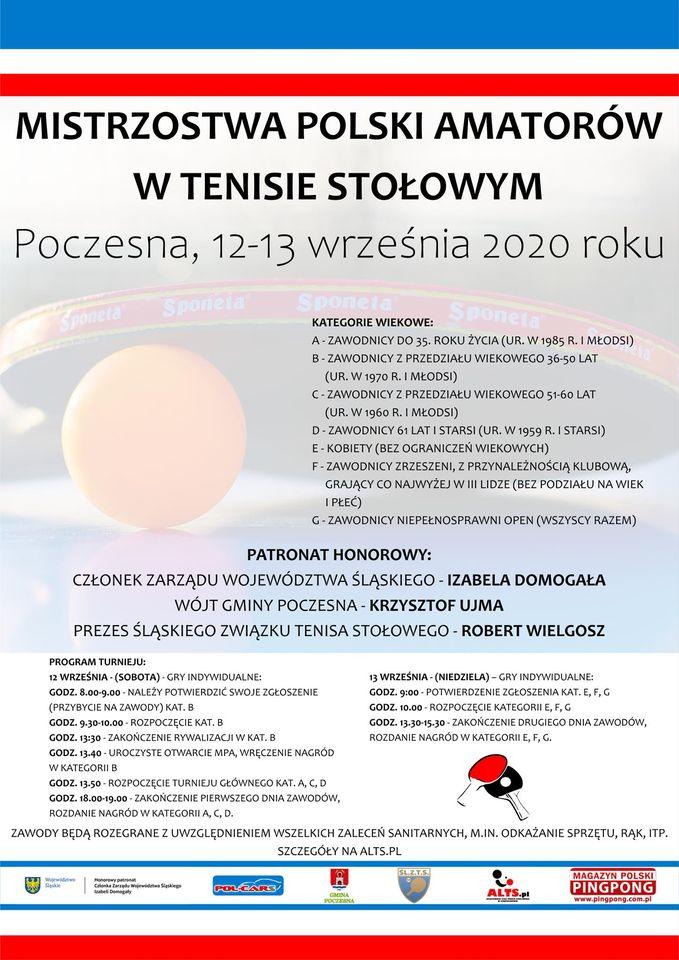 Plakat turnieju Mistrzostwa Polski Amatorów w tenisie stołowym