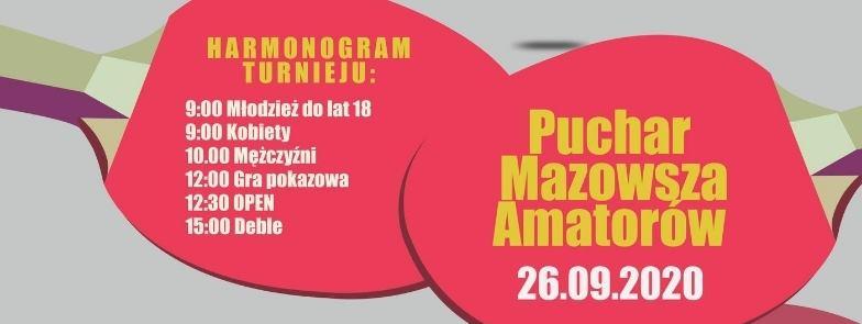 Plakat turnieju Puchar Mazowsza Amatorów w Tenisie Stołowym 2020
