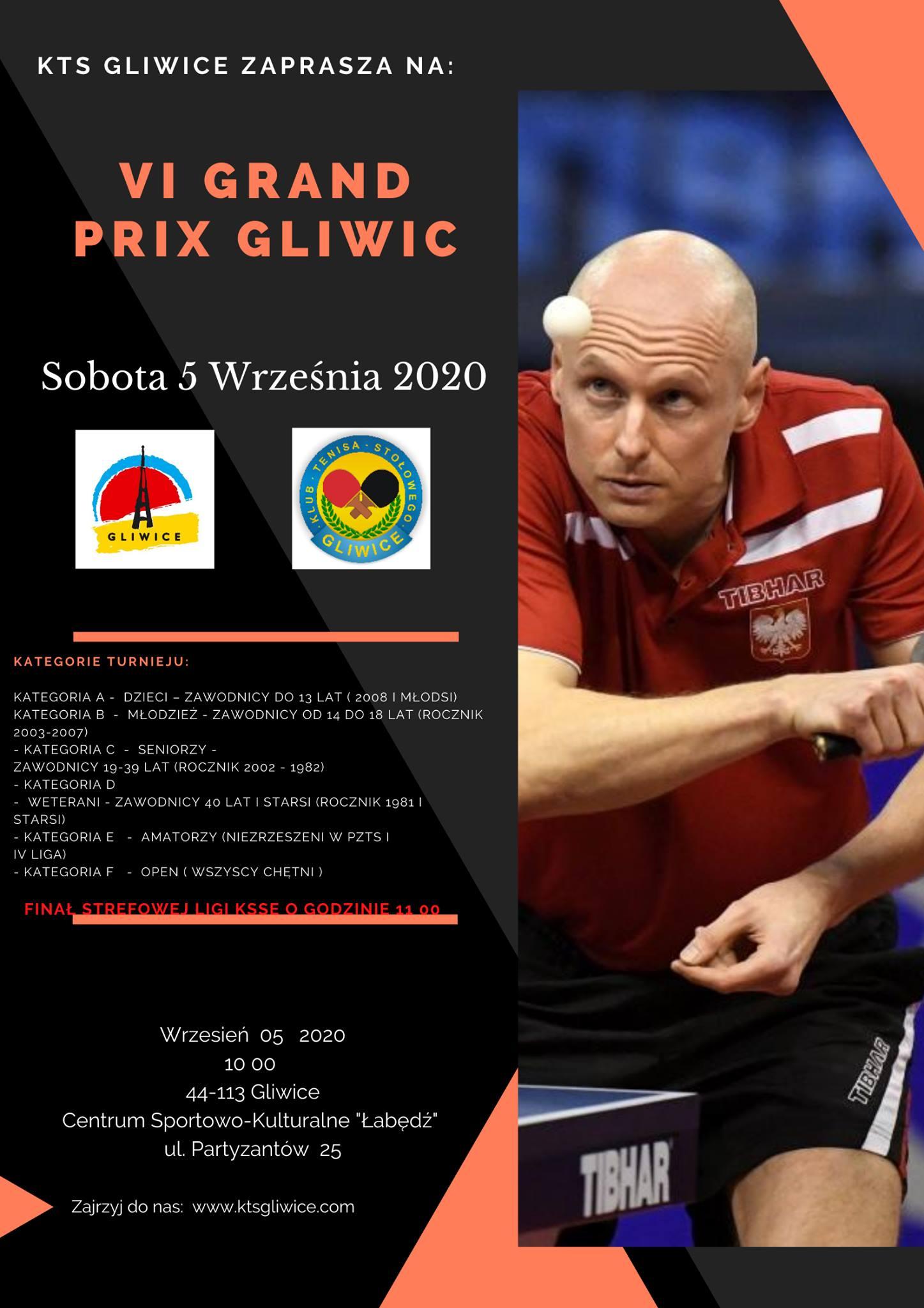 Plakat turnieju VI Grand Prix Gliwic w Tenisie Stołowym