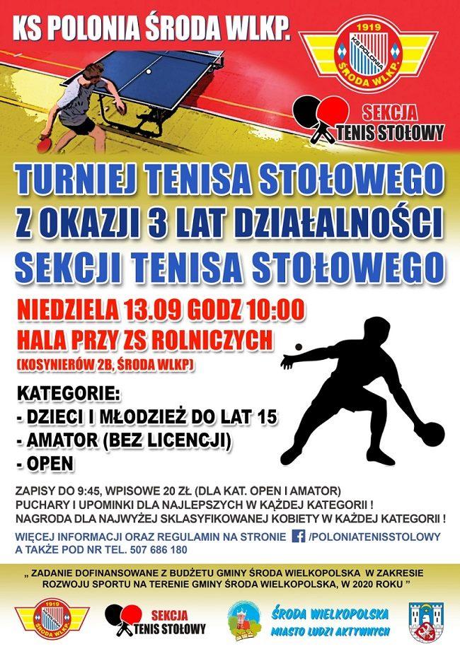 Plakat turnieju Turniej Tenisa Stołowego z Okazji 3 Lat Działalności Sekcji KS Polonia Środa Wielkopolska