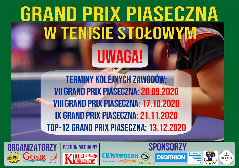 Plakat turnieju Grand Prix Piaseczna w tenisie stołowym 2019/2020 - VII Turniej