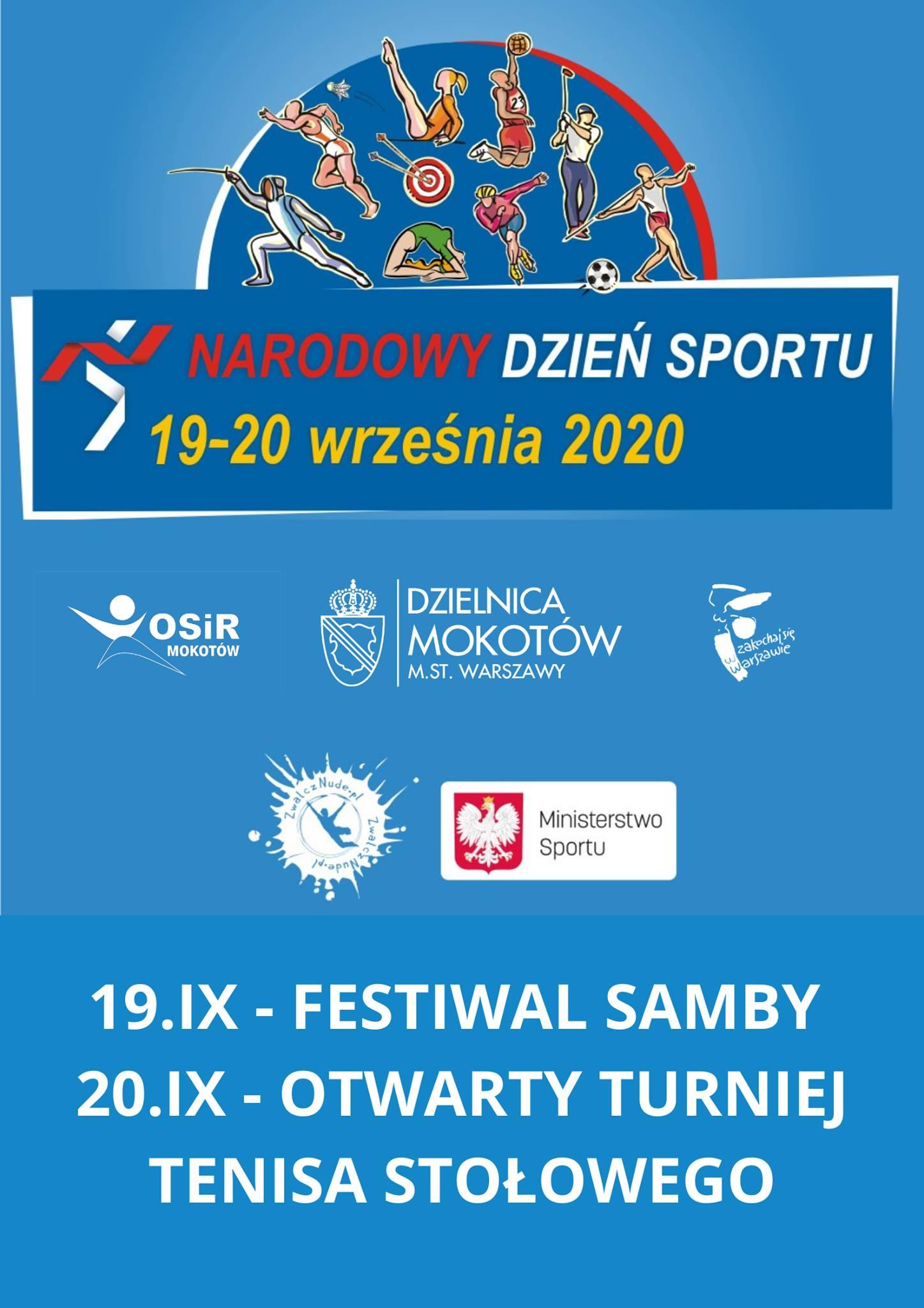 Plakat turnieju IV Otwarty Turniej Tenisa Stołowego o Puchar OSiR Mokotów 20.09.2020 r