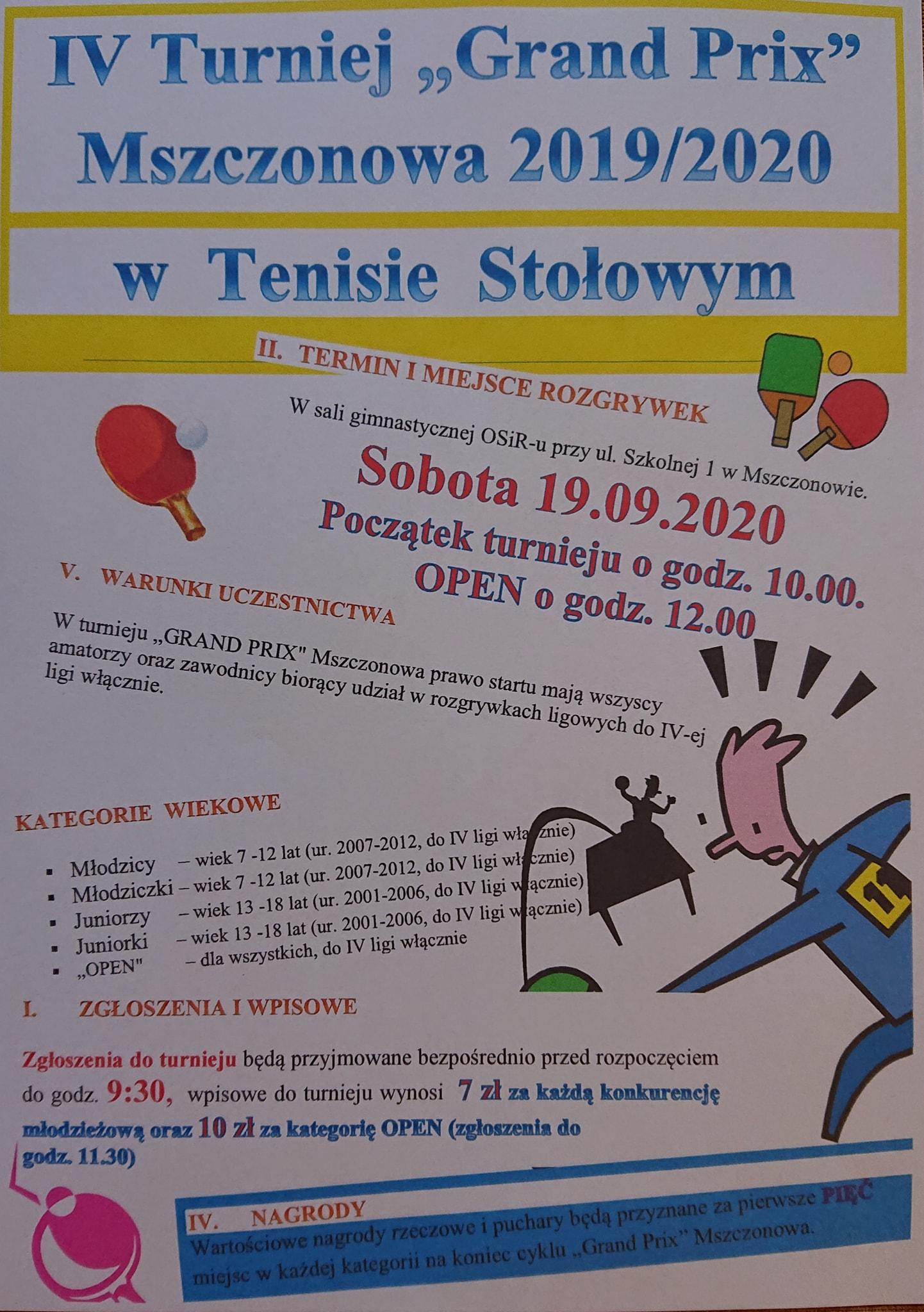 Plakat turnieju V GRAND PRIX Mszczonowa 2019/2020