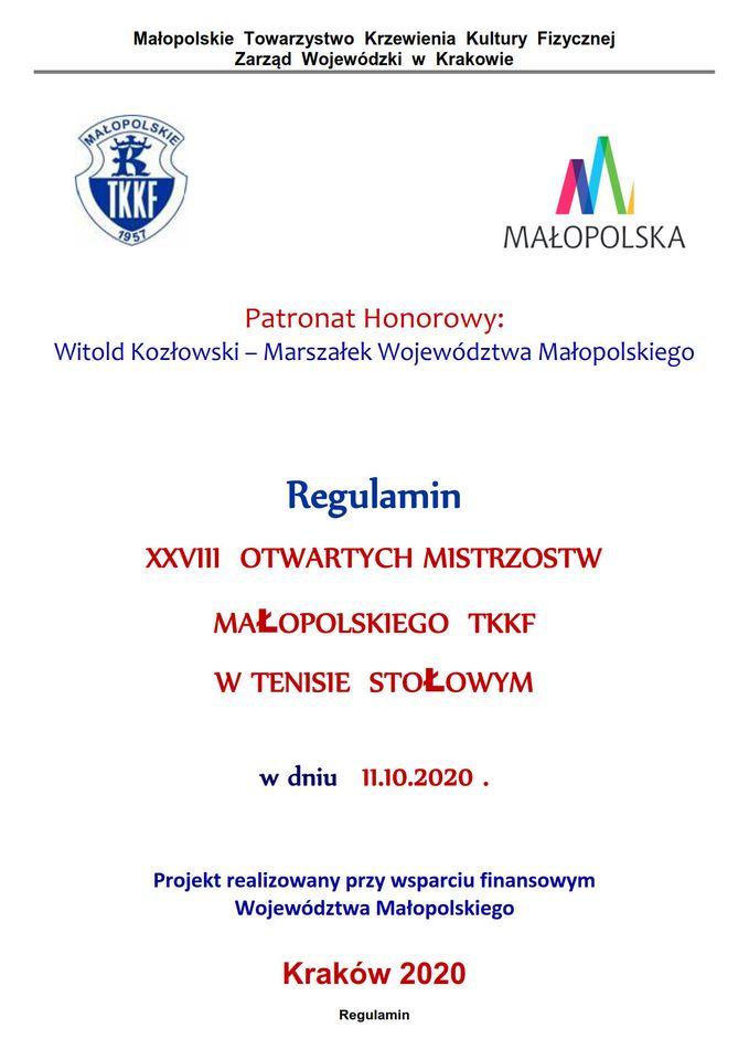 Plakat turnieju XXVIII Mistrzostwa Małopolskiego TKKF w Tenisie Stołowym