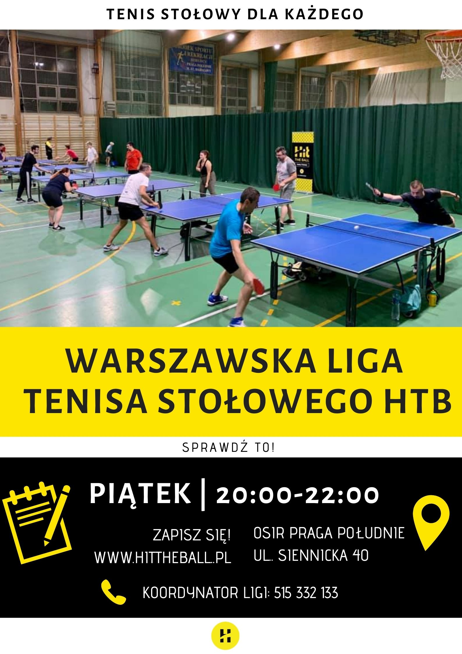Plakat turnieju Warszawa Liga Tenisa Stołowego 2020 - 6 termin